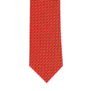 Red and Gold Woven Herringbone Tie